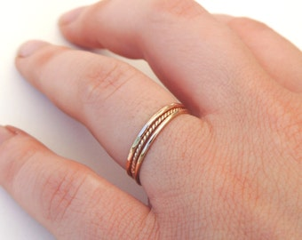 Textured Ring Set, Textured Stacking Rings, Stackable Rings, Rope Ring, Hammered Ring, Midi Rings, Pinky Rings, Knuckle Rings, Textured Ring