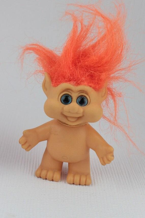 Orange Hair Troll Doll Hard Plastic Very Happy Face Nude Itb