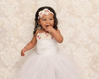 White Floral Wedding Flower Girl Tutu Dress