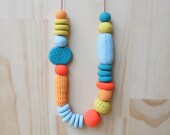 Handmade, Textured, Fancy Necklace - Mustard, Peach, Sky, Tangerine & Teal