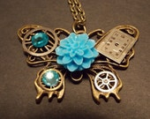 Steampunk Butterfly Clockwork Necklace- Blue and Bronze