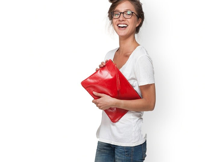 Red Leather Clutch, Evening Bag, Fold Over Clutch, Leather Bag