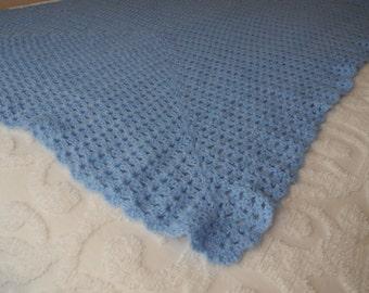 Vintage Blue Baby Blanket Afghan Handmade Throw