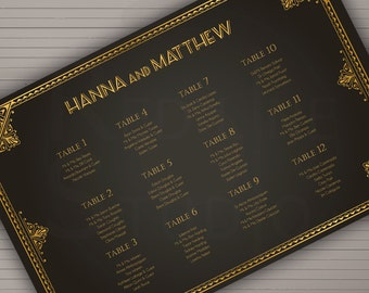 Wedding seating chart themed 1920 Art Deco - Personalized Printable