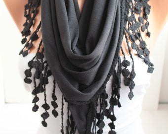 Black Shawl Scarf - Triangle Scarf - Lace Scarf - Cotton Scarf Summer Scard Fashion Women Accessories