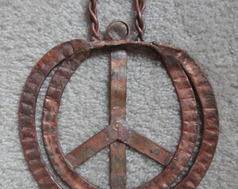 Hand Made Copper Peace Sign Sculpture 420