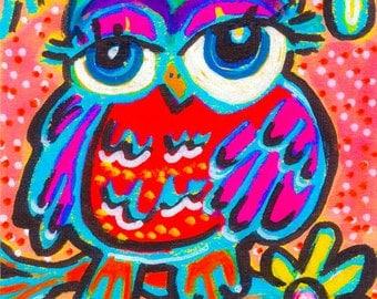 Funny Owl Print, Whimsical Owl Art, Owl Decor, Kids Room Decor, Art For Kids, Nursery Room Art, Bright Baby Owl by Paula DiLeo_121013