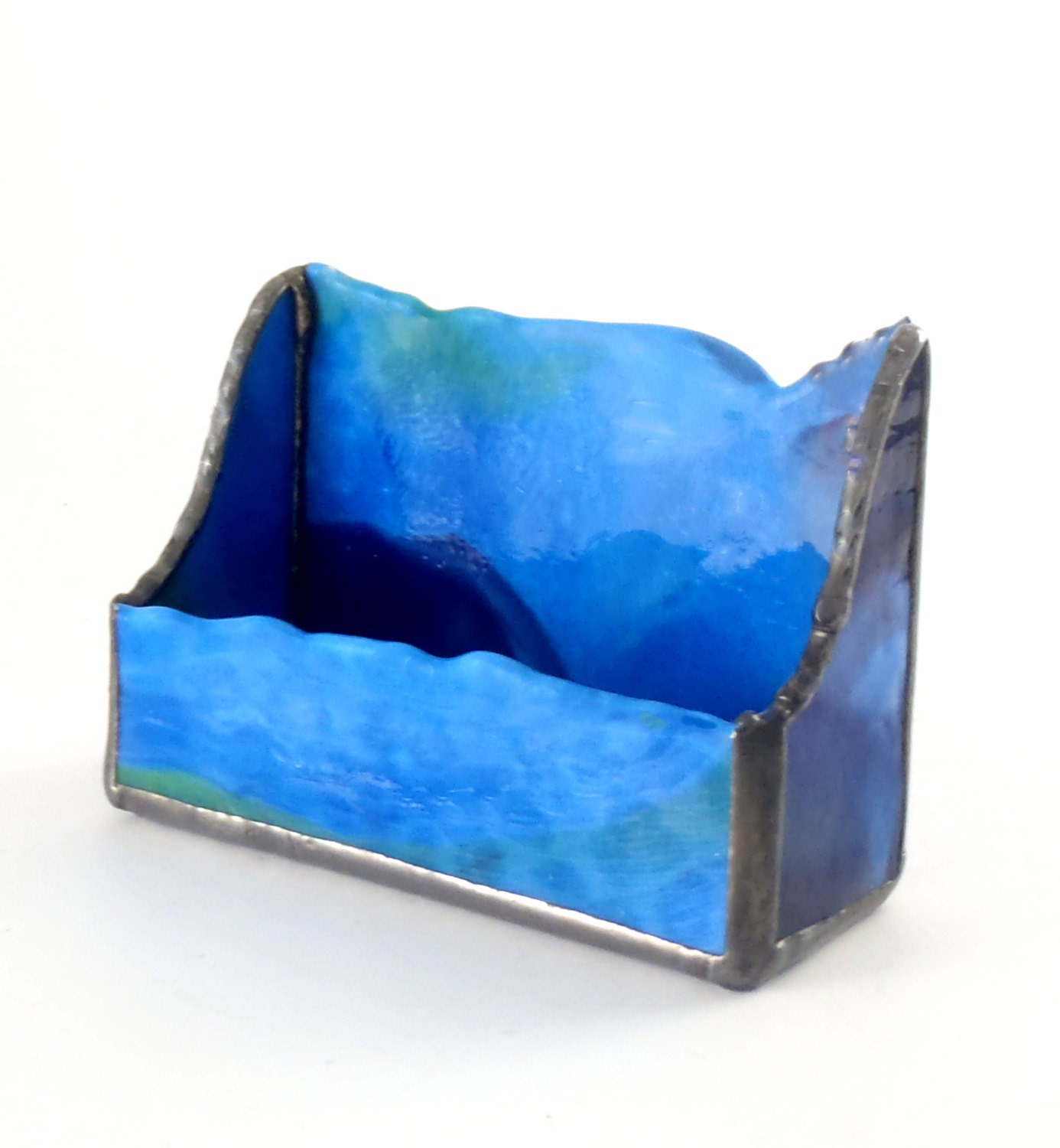 Unique business card holder desk accessories blue stained for Unique business card cases