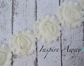 IVORY Shabby Chiffon Flower Trim - Your choice of 1 yard or 1/2 yard -  Chiffon Shabby Rose Trim, DIY headband supplies, fabric flower trim