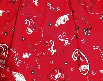 Arkansas RazorBacks - elastic waist Girl's Skirt - Size Medium - Red Paisley Bandana   - Hogs