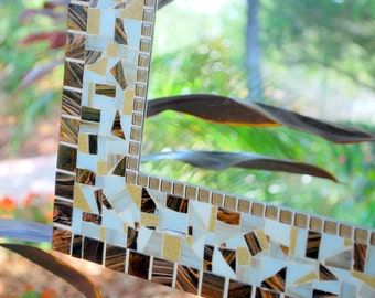 Brown and White Mosaic Mirror, MADE TO ORDER