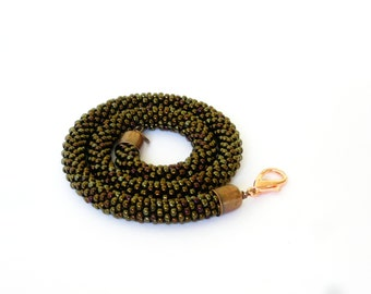 Bronze choker/Brown Necklace/ Beaded Rope Jewelry/Short necklace/Crocheted accessories