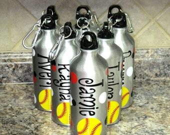 Personalized Aluminum Water Bottle-SOFTBALL/BASEBALL