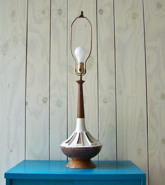 Mid Century Modern Lamp-Desk Lamp-Danish Style Lamp Ceramic base and ...