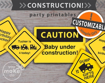 INSTANT DOWNLOAD construction party, construction birthday, party printables, construction party printables, construction party signs, pdf