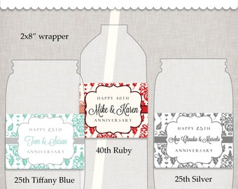 Anniversary Bottle Wrappers - PRINTABLE digital PDF file