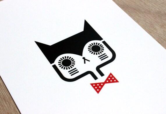 Postcard Cat with bowtie - cute greeting card - kawaii illustration - minimalist home decor children bedroom
