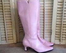 Pink Kitten Heel Boots Pink Go Go Boots Size 8M