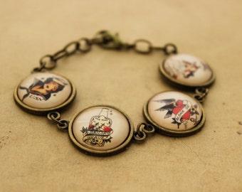 Sailor Jerry Bracelet 1 -  Sailors Grave Adjustable Rockabilly Nautical Cabochon Tile Bracelet
