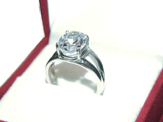 On Sale, White Sapphire Ring, Oval stone, Low Profile Setting, 3 Carats