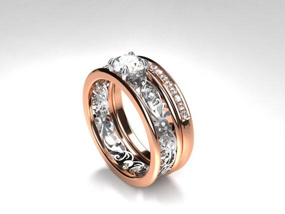 Diamond Engagement Ring Set Filigree Ring Diamond Wedding