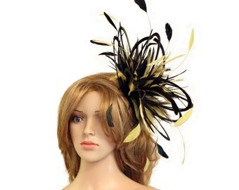 Black and Yellow Satin  Feather Fascinator Hat - wedding, ladies day - choose any colour feathers & satin