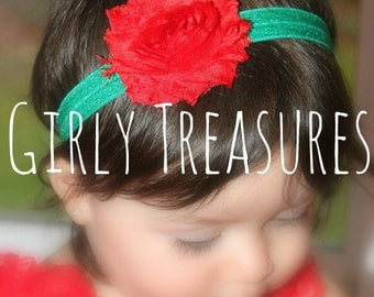 Red Christmas Shabby Headband. Baby Headband. Newborn Headband. Girl Headband. Adult Headband. Photo Prop.