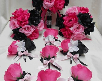 Wedding Bridal Bouquets Your Colors 18 pcs Package Fuchsia Hot Light Pink Black Roses Toss Bridesmaids  Boutonniere Corsages FREE SHIPPING