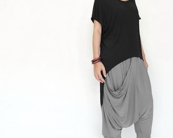 NO.151 Black Rayon Fashion Cape Sleeve Hi-Low T-shirt