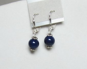 Classic Dark Navy Blue Beaded Earrings Riverstone Beads Or Red Riverstone Beads