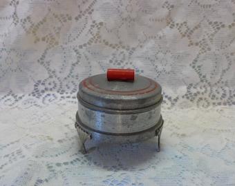 Trinket Box Round Aluminum Mirrored Box Art Deco Legs Red Accents Jewelry Box Vanity Accessory Powder Box