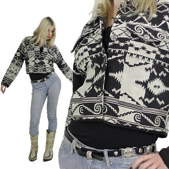 Vintage Boho jacket Hippie coat Ethnic Crop Top Festival Tribal black white Southwestern Blazer Hippie Boho Southwestern coat