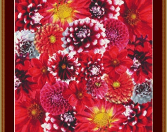 Autumn Dahlias Cross Stitch Pattern