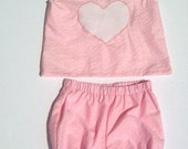 OOAK Baby 2 piece Summer Set - Size NB-3m -  Tank Top and Shorts / Diaper cover, Pink and White