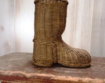 SALE Wicker Basket Boot Shaped Primitive Decor