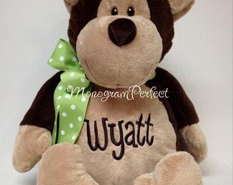Personalized, Monogrammed Stuffed Monkey Soft Toy, Plush