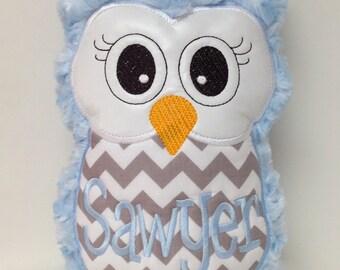 Blue & Gray Chevron Plush Owl Reading Buddy Pillow, Soft Toy