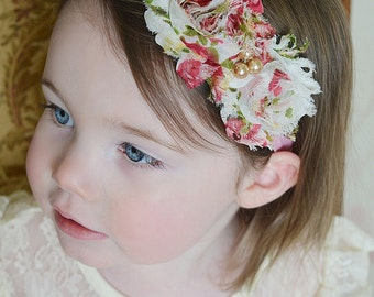 Shabby Chic Vintage Headband Baby Headband Baby Bow Baby Girl Hair Bow Flower Headband Baby Infant Headband Bebe Hairbow Headband for Babies