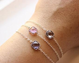Set of 3: Silver Chain Bracelets - Delicate Bracelets - Faceted Glass Stone Pendant Bracelets