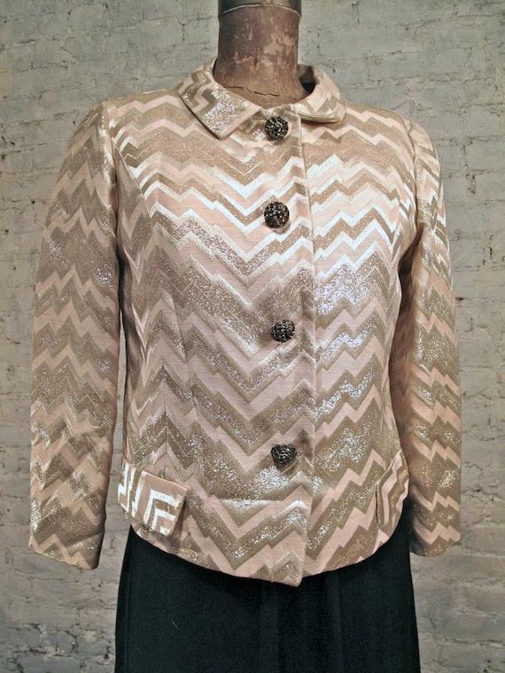 60s Gold / Silver Brocade Mod Jacket