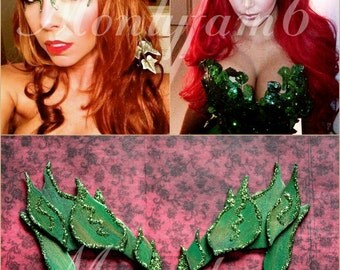Poison Ivy Mask Leaves GREEN w/ Glitter Trim Leaf Costume Uma Thurman Kim K Fairy Elf Mother Earth Cosplay Comic Con