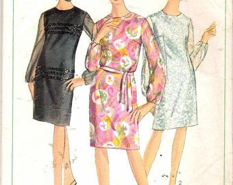 Vintage 1966 Simplicity 6843 Slim Dress Sewing Pattern Size 14
