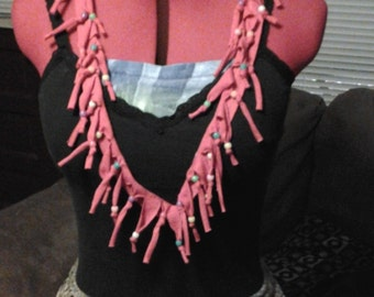 Festive Fringe Beaded Hippie Red T-Shirt Necklace/Scarf OOAK Christmas Gift