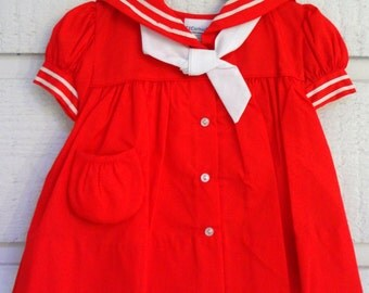 Vintage Girls Red Sailor Dress- All Sizes-  New,never worn