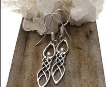 Celtic Goddess Earrings - Sterling Silver Goddess Dangling Earrings - Sterling Silver Pagan Jewelry SE-2876-FEW