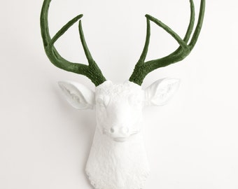 Faux Deer Head - The Aileen - White W/ Olive Green Antlers Resin Deer Head Mount - Stag Resin by White Faux Taxidermy Animal Head Wall Decor