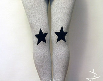 Black stars patched leggings in grey