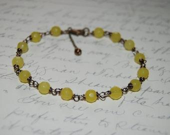 Artistic Wire Wrap Style Yellow Lemon Quartz  Bracelet.