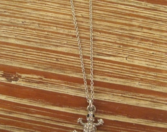Tiny Rhinestone Lizard Necklace - Silver Rhinestone Lizard Necklace