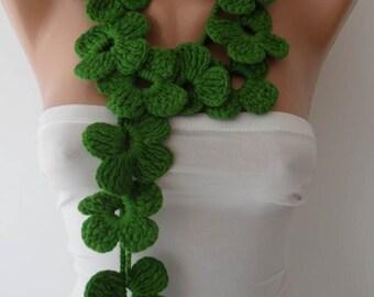 Winter Chic - Handknit flowered scarf -  Green Scarf